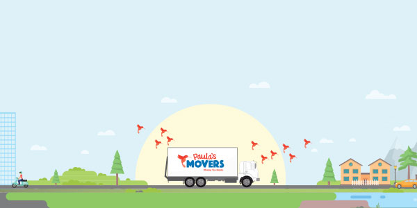 Paula's Movers Mobile Truck On The Road