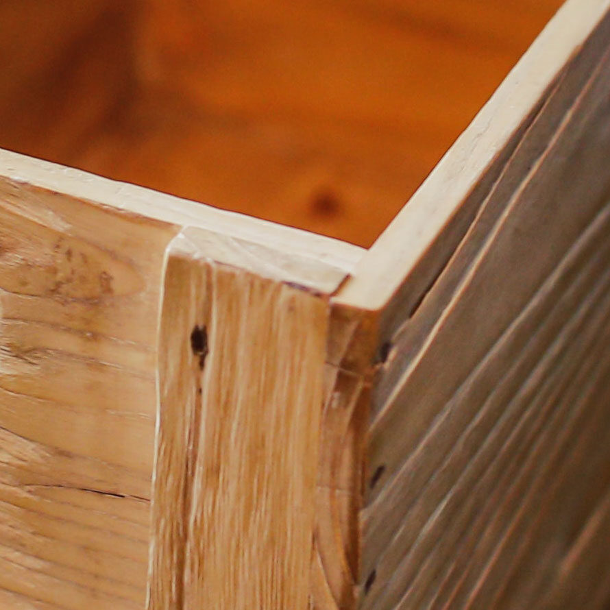 Close up of a custom built wooden crate.